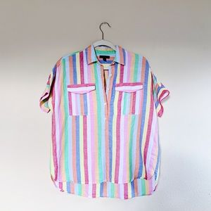 J.Crew Vertical Striped Multi Colored Button Down